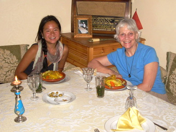 Fes, Morocco dinner with a new travel chum