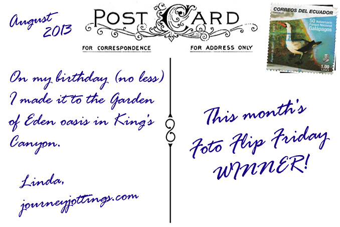Foto Flip Friday Winner Linda JourneyJottings Kings Canyon, Australia Postcard photo Back