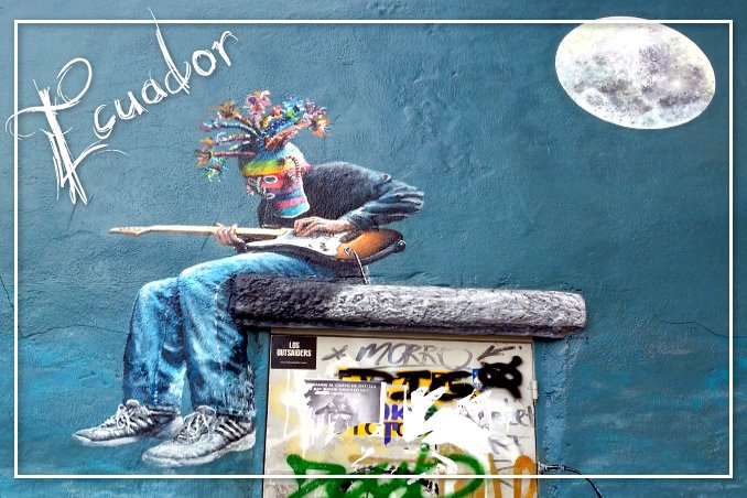 Foto Flip Friday May 2015 Theme: Cuenca Street Art Lad and Moon Postcard photo Front