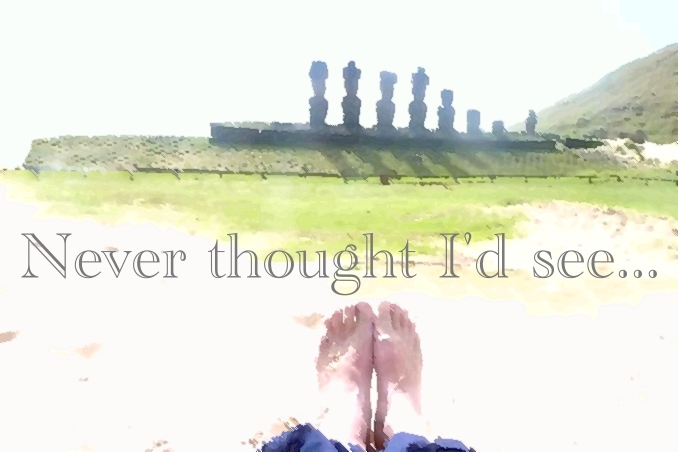 Foto Flip Friday July 2015 Theme: Toes in Situ, Easter Island Moi Toes Postcard photo Front