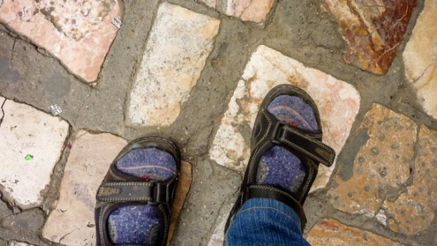 Stepping along the cobbled lanes of Cuenca, Ecuador.