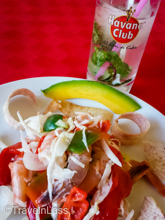 Shrimp ceviche and an icy mojito - yes, please!