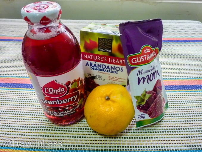 Ingredients for making whole berry cranberry sauce from dried cranberries