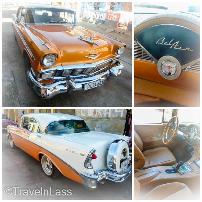 Collage of old Cuban Chevy Bel Air in Havana