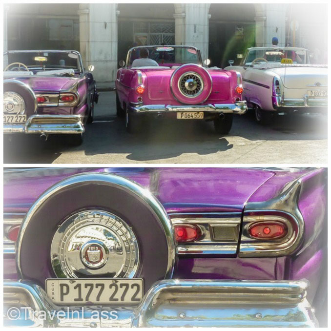 Collage of old purple and pink Cuban cars in Havana