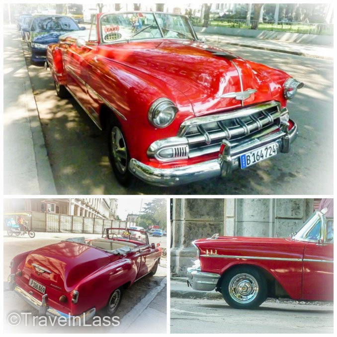Collage of old Cuban red cars in Havana