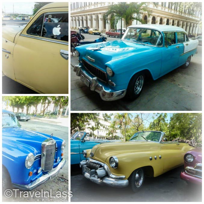 Collage of old Cuban blue cars and yellow cars in Havana