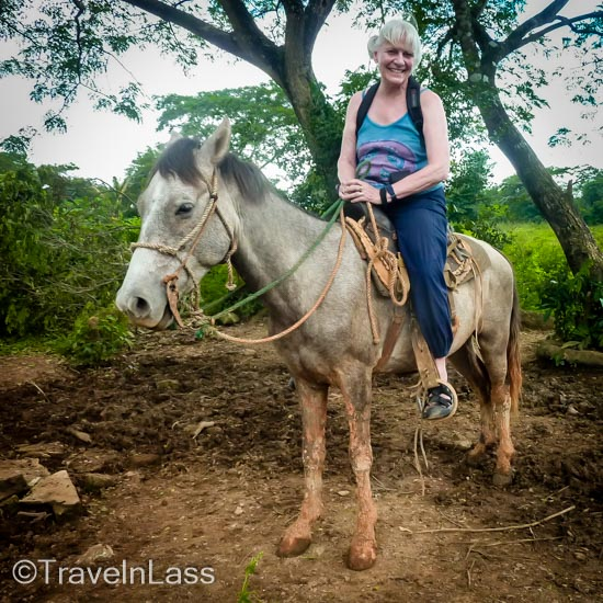 Aboard my magnificent (-ly short!) Cuban steed (note the mud past his KNEES!)