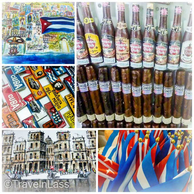 Collage of the tourist trinkets at the Artisan Market in Havana, Cuba