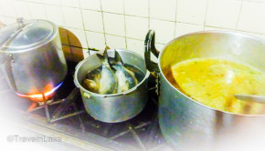 Homemade Fanesca sooup simmering on the stove in Cuenca, Ecuador