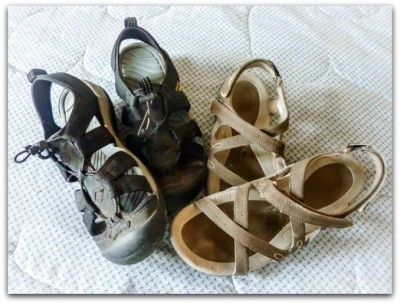 Two pairs of shoes that I can wear - rare finds here in Cuenca, Ecuador