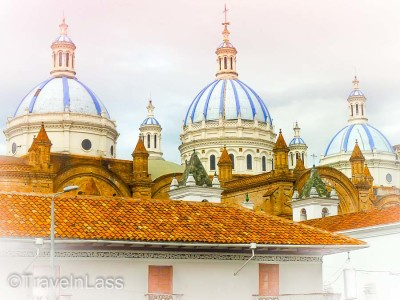 The blue domes of the New Cathedral, Cuenca, Ecuador