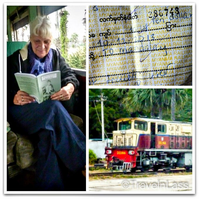 "Reading ""Burmese Days"" on the train from Bagan to Mandalay, Myanmar"