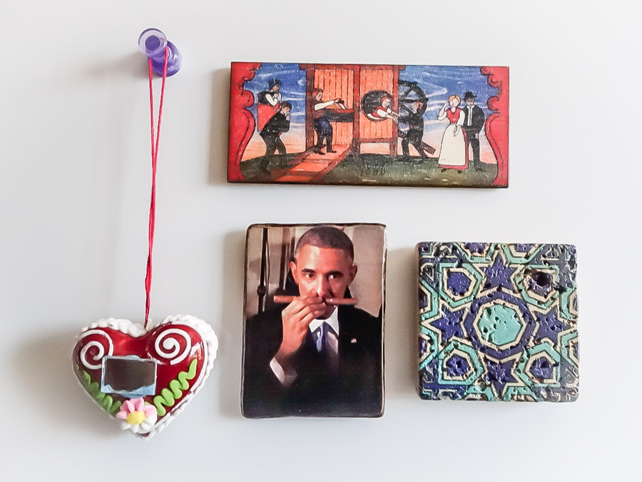 Refrigerator magnets from my travels to Cuba, Austria, Slovenia and Turkey