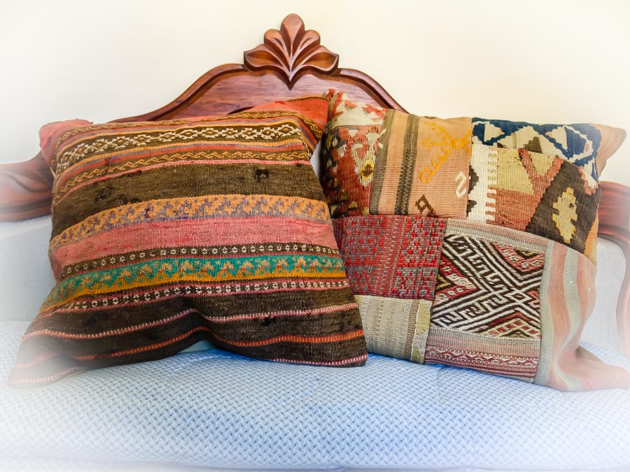Even we minimalist expats can use a couple of luscious camel bag pillow covers from Turkey.