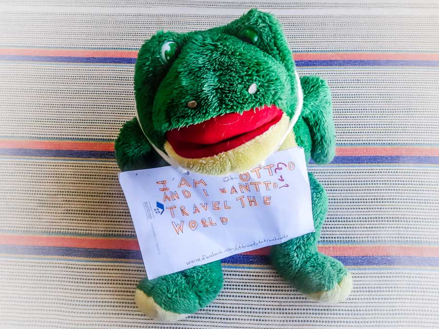"""Otto wants to travel the World"" stuffed frog the sweet lasses at the entry booth to Ephesus, Turkey gave me to move along to other countries."