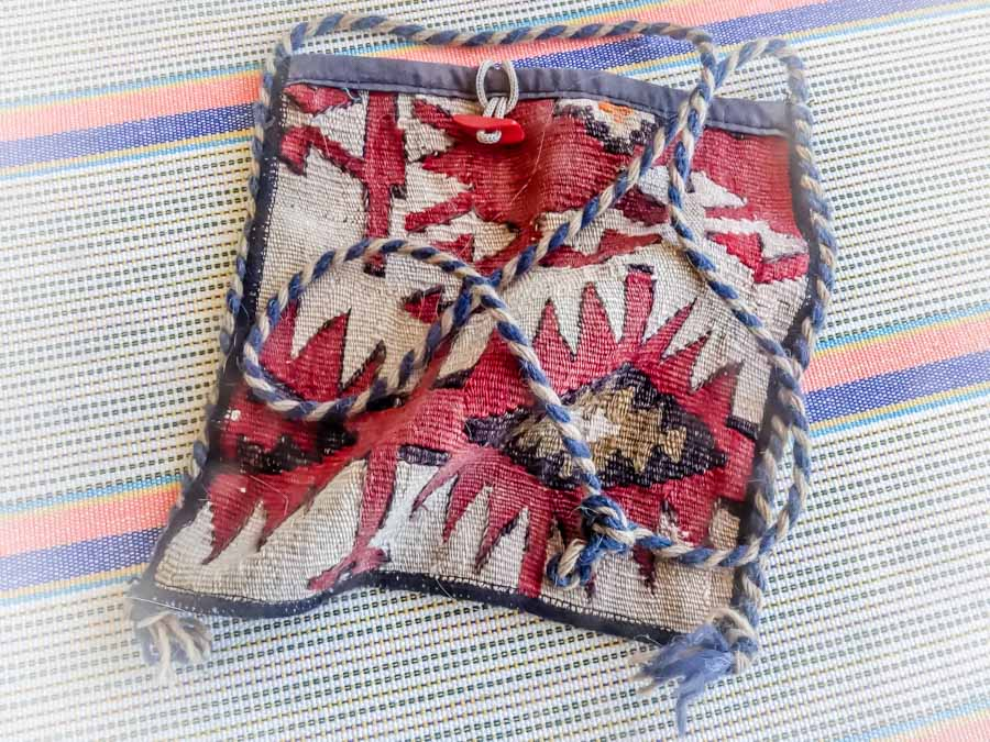 Woven camel-bag purse from Cappadocia, Turkey