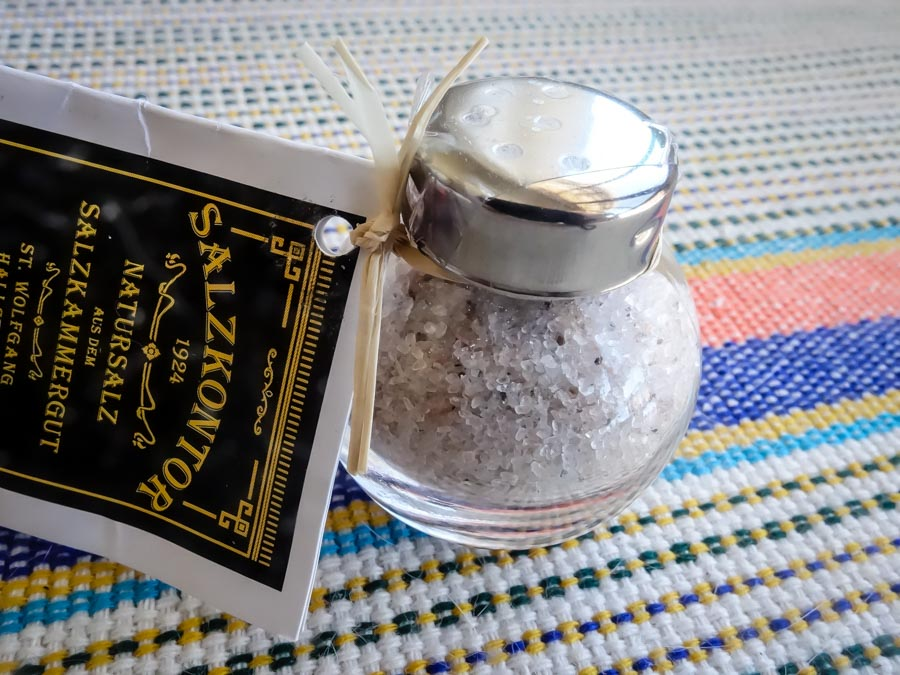 Tiny shaker of salt souvenir from Hallstatt, Austria