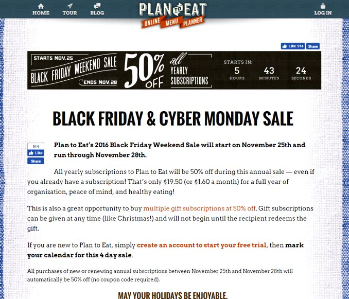 Plan-To-Eat Black Friday Sale
