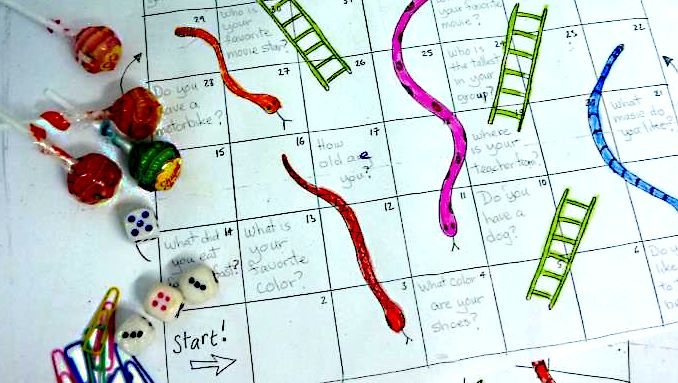 First day of CELTA class - my Snakes and Ladders gameboard