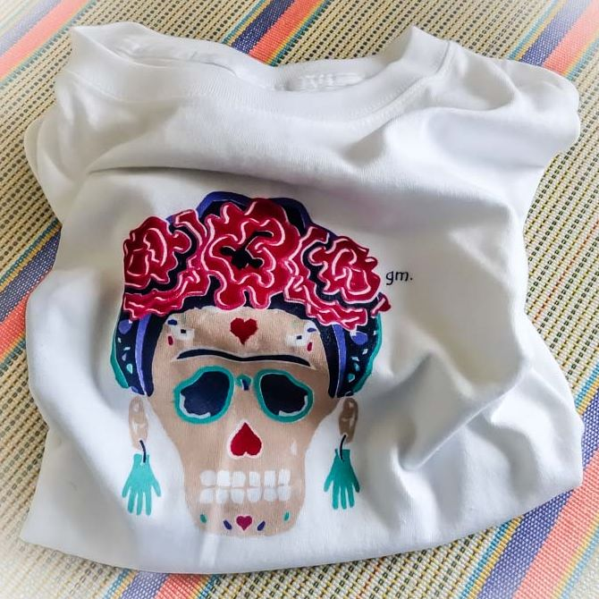 Frida Kahlo Day of the Dead Sugar Skull T-shirt
