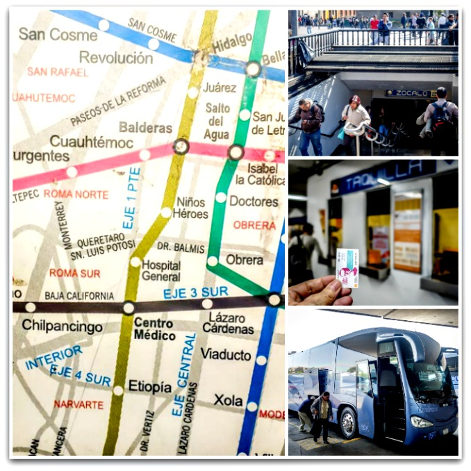 Mexico City Metro map collage.