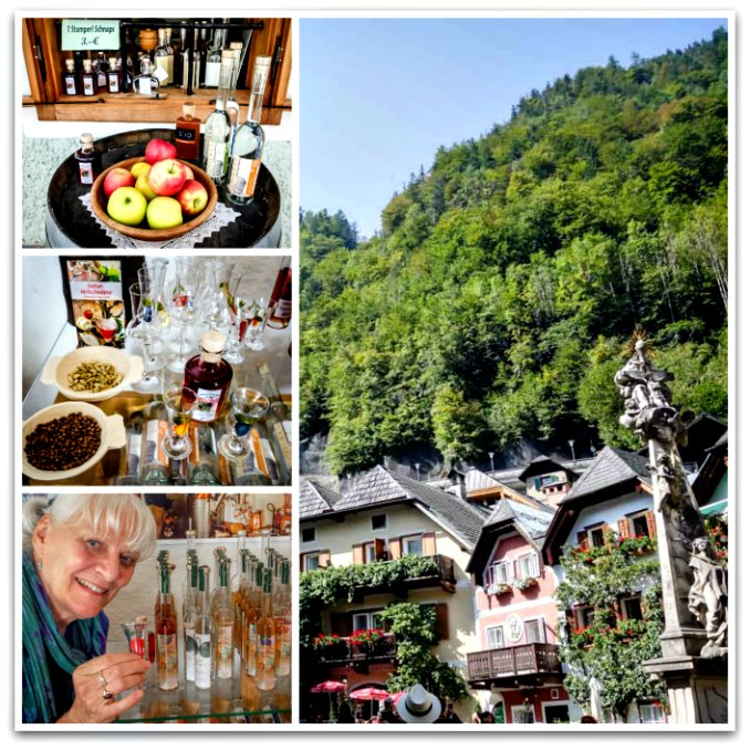 Schnapps tasting in the village of Hallstatt, Austria