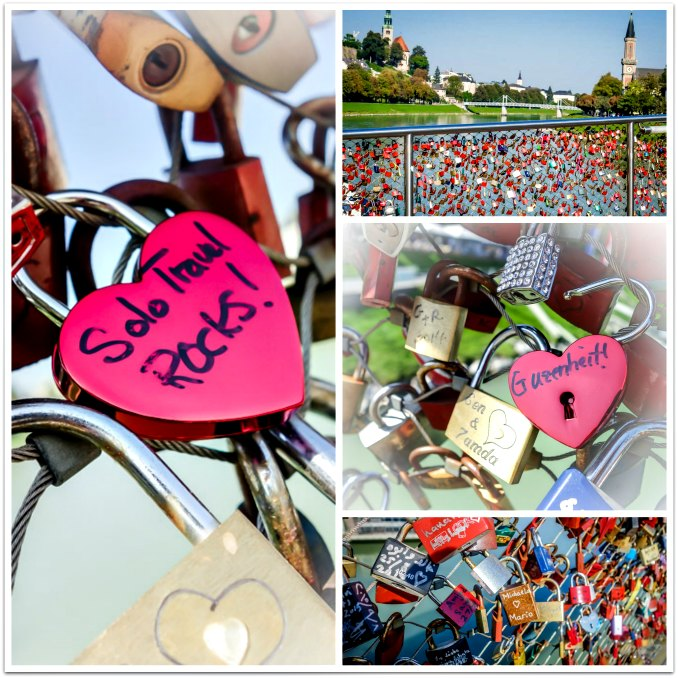 "Hanging my own ""Solo Travel Rocks!"" lock on the famous Makartsteg ""Love Lock"" bridge in Salzburg, Austria."