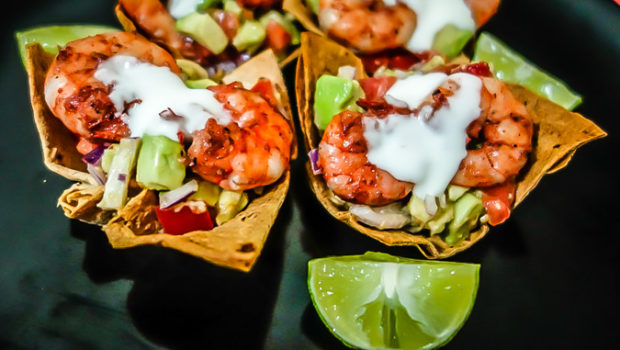 Toaster-oven Shrimp Cups with Avocado Salsa.