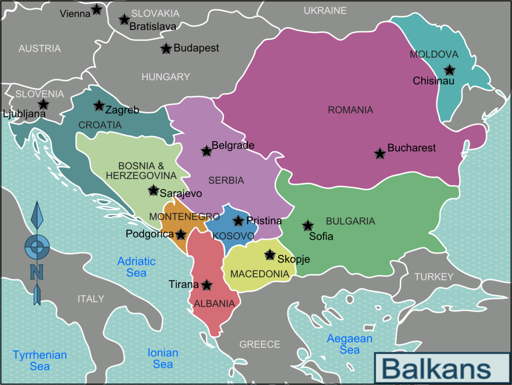 Map of the Balkan countries.