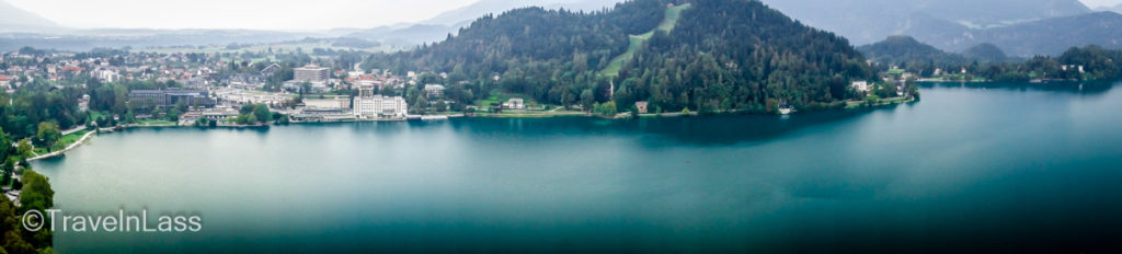 Aerial panorama of Lake Bled, Slovenia