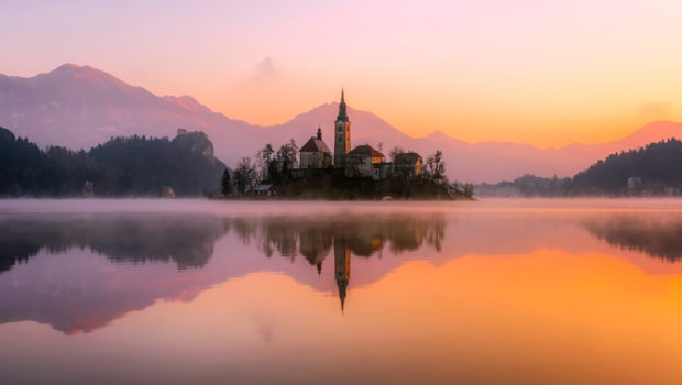 Sunrise view of Our Lady of the Lake, Bled, Slovenia.