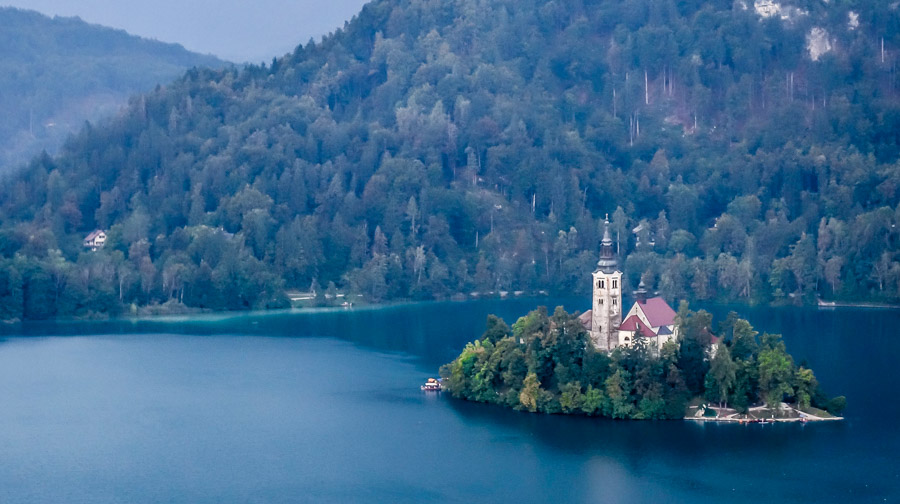 Out Lady of the Lake Church perched on the island amid Lake Bled, Slovenia.