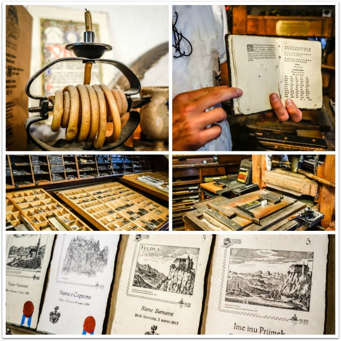 Lake Bled Castle printing works with a replica of an original wooden Gutenberg printing press .