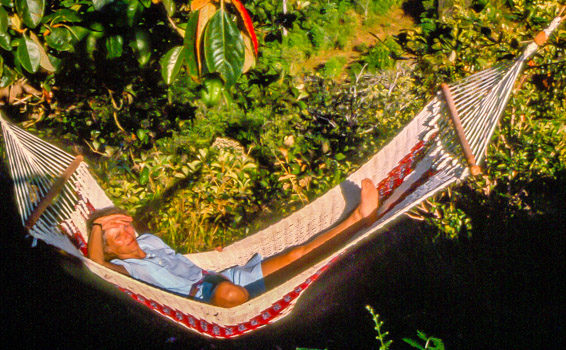 A Wanderlust takes a break: TravelnLass tour guide taking it easy in Costa Rica.