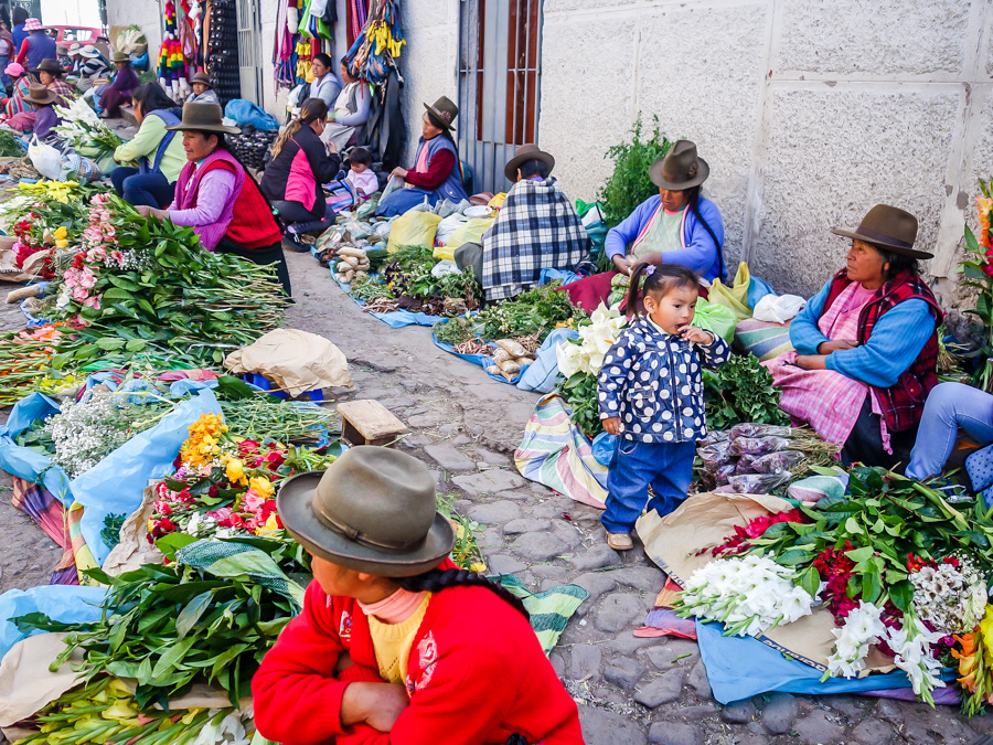 The (south) street leading to the Cusco Central Market - a bountiful collection of medicinals and flower vendors.