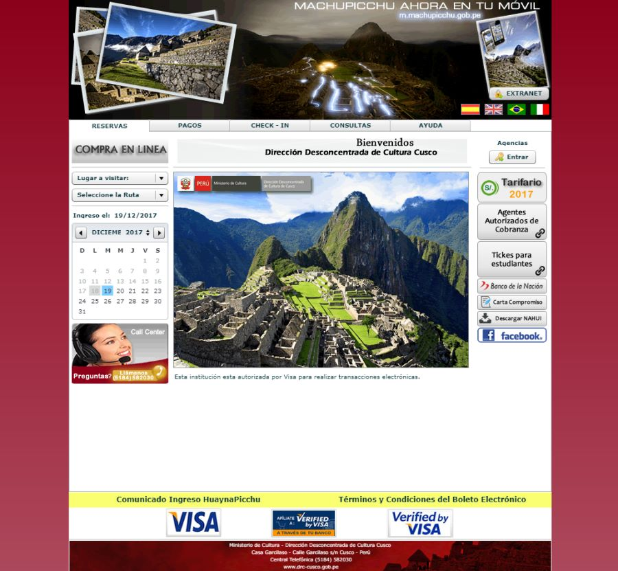 Machu Picchu entry ticket official site