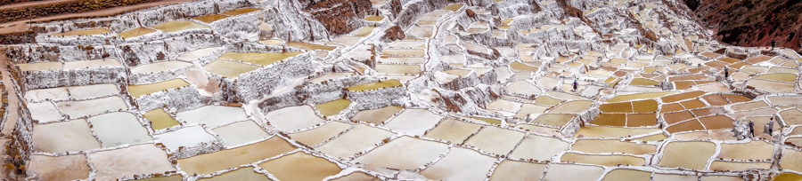 Panorama of the Maras Salt Flats, Peru.