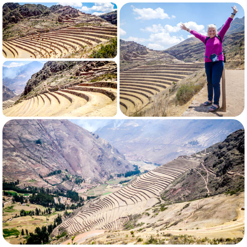 Collage of the Inca ruins at Pisac, Peru.