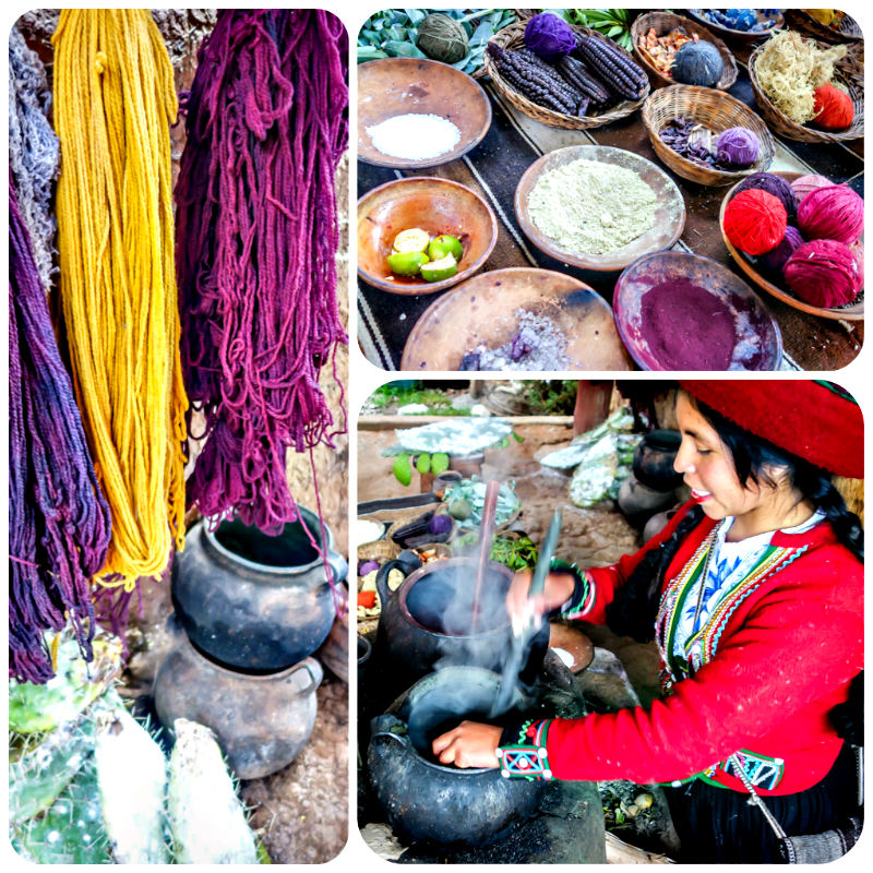 Dying the yarns at the Interpretation Center of Andean Textiles, Chinchero, Peru
