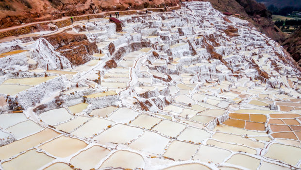 "Since pre-Inca times, salt has been ""mined"" in Maras by evaporating salty water from a local subterranean stream."